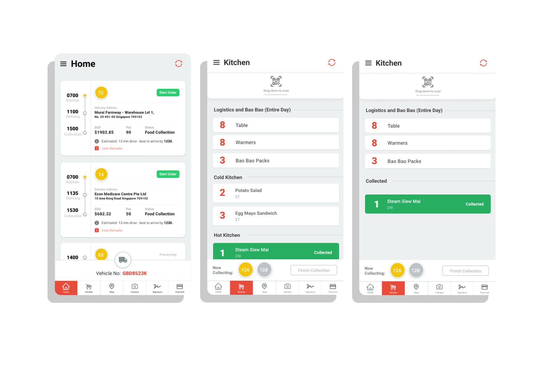 food delivery screen