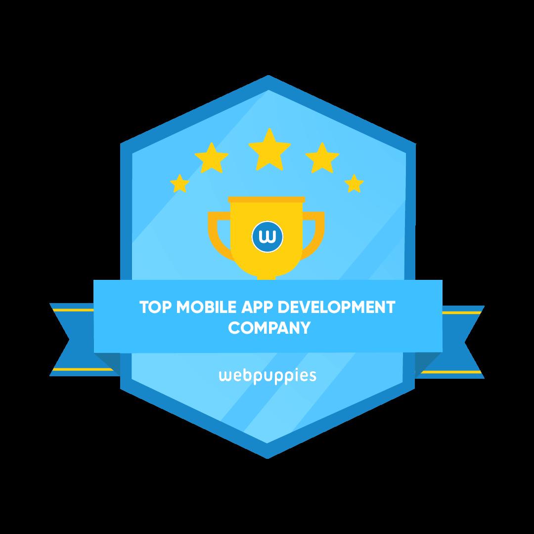 Top mobile app development company badge webpuppies